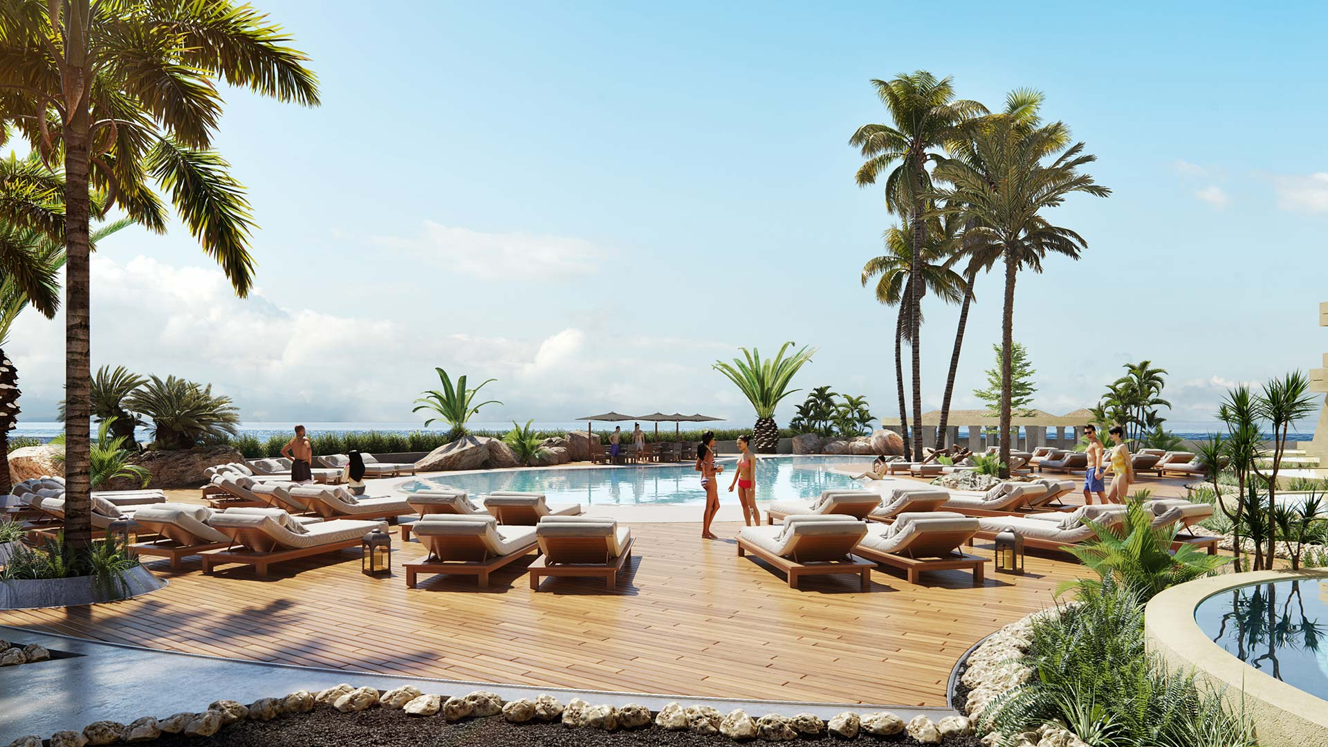 Hotel Pool by the Ocean - 3D Rendering